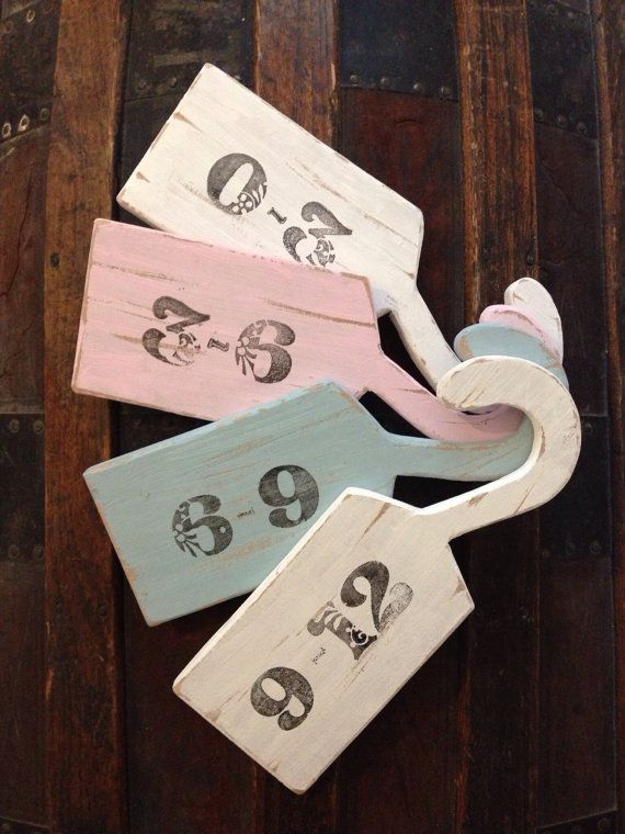 Vintage shabby chic handmade baby clothes divider pink white blue gift (set of four) on Etsy, $24.79