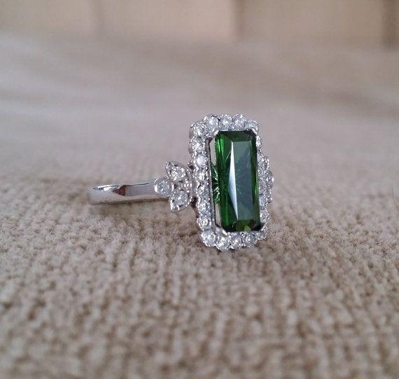Emerald Halo Green Tourmaline Diamond Flower by PenelliBelle