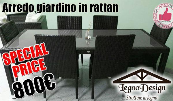 TAVOLO E 6 SEDIE IN RATTAN DA LEGNO DESIGN http://affariok.blogspot.it/