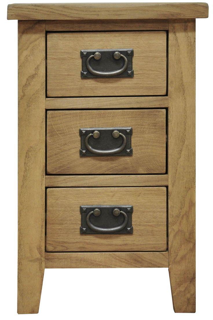 Tunstall Rustic Oak 3 Drawer Narrow Bedside Cabinet | Oak World