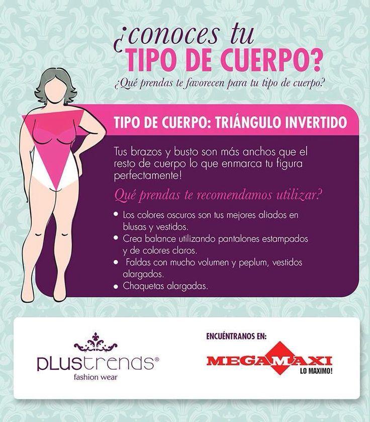 TIPO DE CUERPO: TRIÁNGULO INVERTIDO  Utiliza blusas de un solo color, chaquetas de solapas, blusones asimétricos, blusas camiseras con manga 3/4 y pantalones estampados, faldas pegadas, enterizos..encuentralos en MEGAMAXI