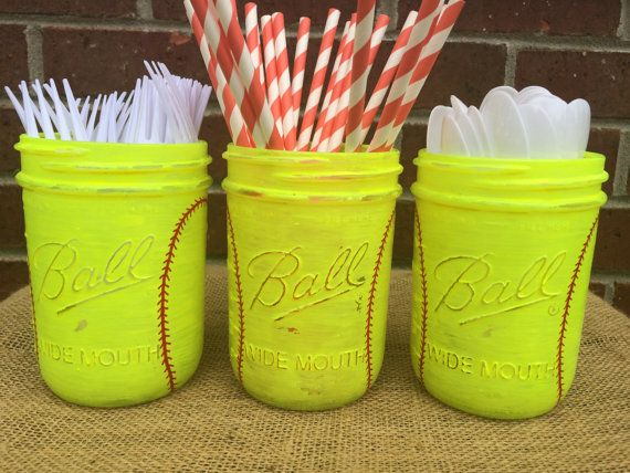 Girls Softball Mason Jars! These jars are hand painted on the outside in Neon Yellow and red sticking is added for the softball look. It is