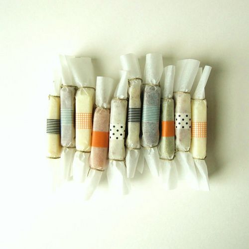 Washi tape for caramel wrappers.