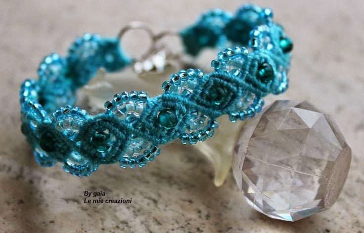 Le mie creazioni: Braccialetto macramè azzurro mare   Braccialetto A...