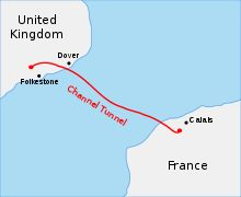 THE CHANNEL TUNNEL (French: Le tunnel sous la Manche; also referred to as the Chunnel) is a 50.5-kilometre (31.4 mi) undersea rail tunnel linking Folkestone, Kent, in the United Kingdom with Coquelles, Pas-de-Calais, near Calais in northern France beneath the English Channel at the Strait of Dover. At its lowest point, it is 75 m (250 ft) deep.   (en.wikipedia.org)