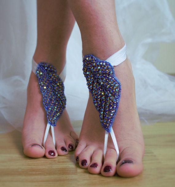 rhinestoneblue wedding sandalssomething blue by TheReflectionOfThe