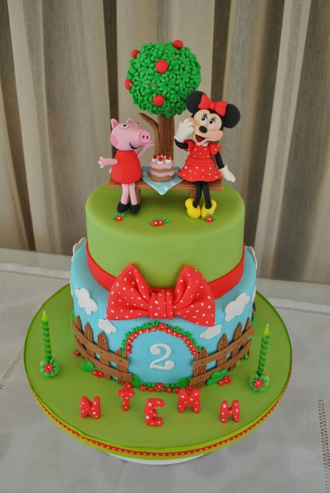 Minnie mouse and Peppa pig cake for