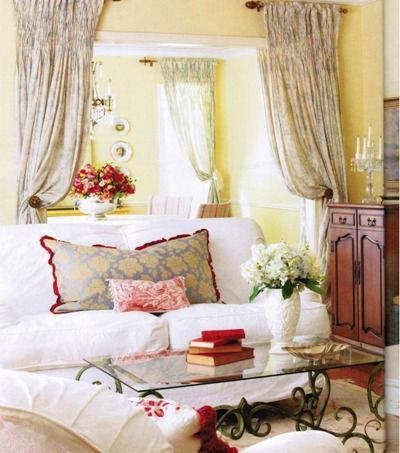 Love The Sunny Yellow Walls White Sofa And Red Accents