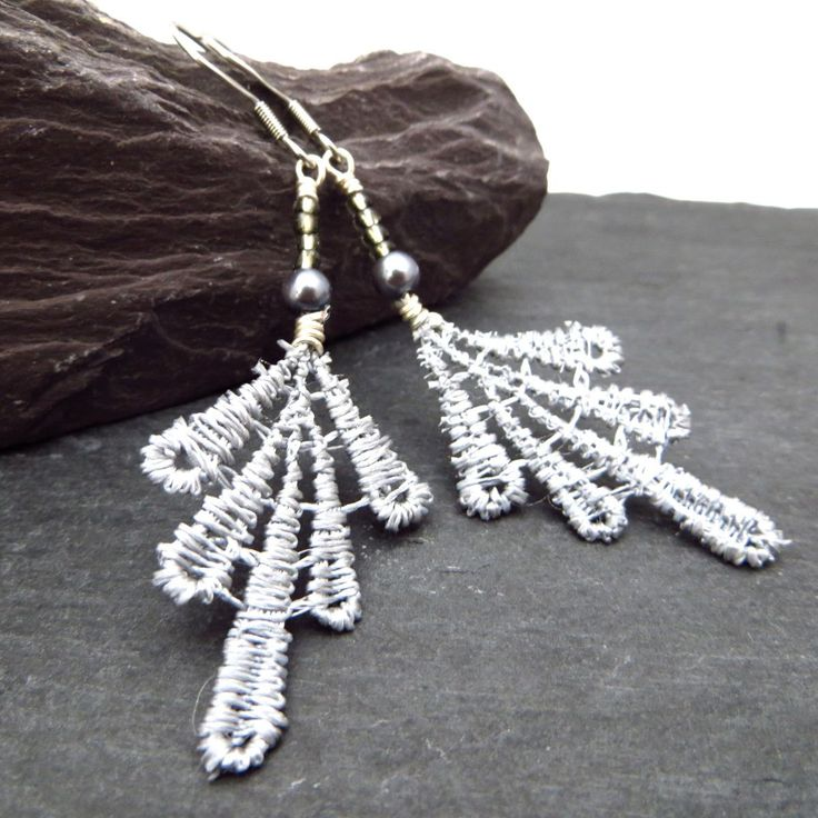 13th Wedding Anniversary Gift For Her: Lace Earrings With Swarovski Pearl & Czech Glass Beads