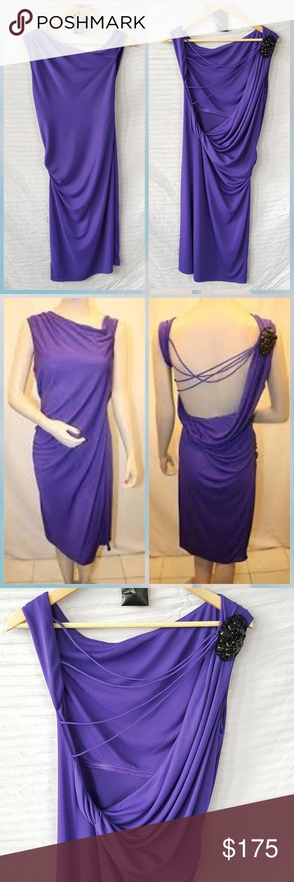 BCBGMAXAZRIA Persian Blue Dress BCBGMAXAZRIA Persian Blue dress, in excellent condition.  Color looks purple to me but may look like a shade of blue to others.  I still habe the replacement beads they sold with the dress and will send them as well. BCBGMaxAzria Dresses