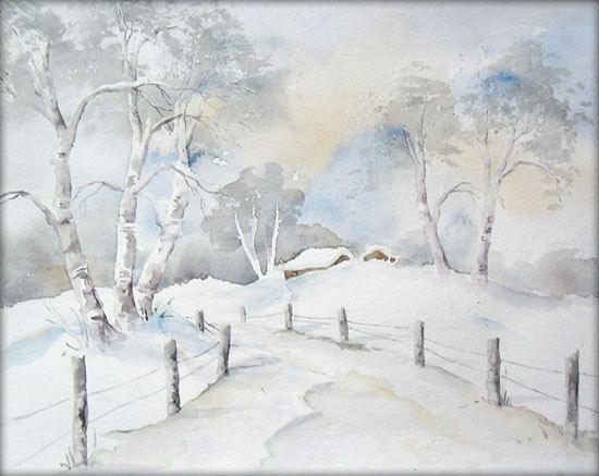 Winter in den Bergen - Aquarell - 24 x 32 cm - Original