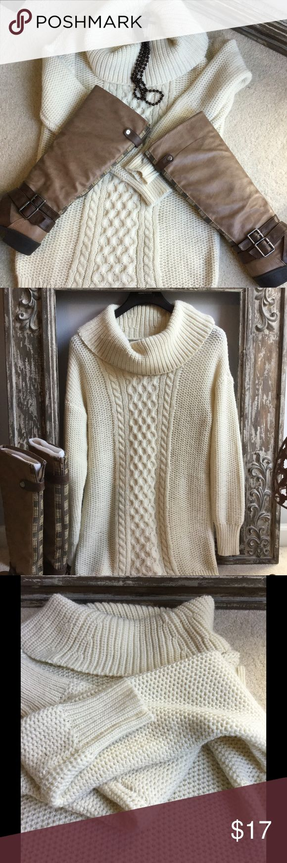 American Eagle outfitters cream sweater dress❤️❤️ American Eagle outfitters cream sweater dress. Sweater dress very cute with tall boots. Only wore a couple times. Sweater has very light wear to the overall sweater material. American Eagle Outfitters Dresses