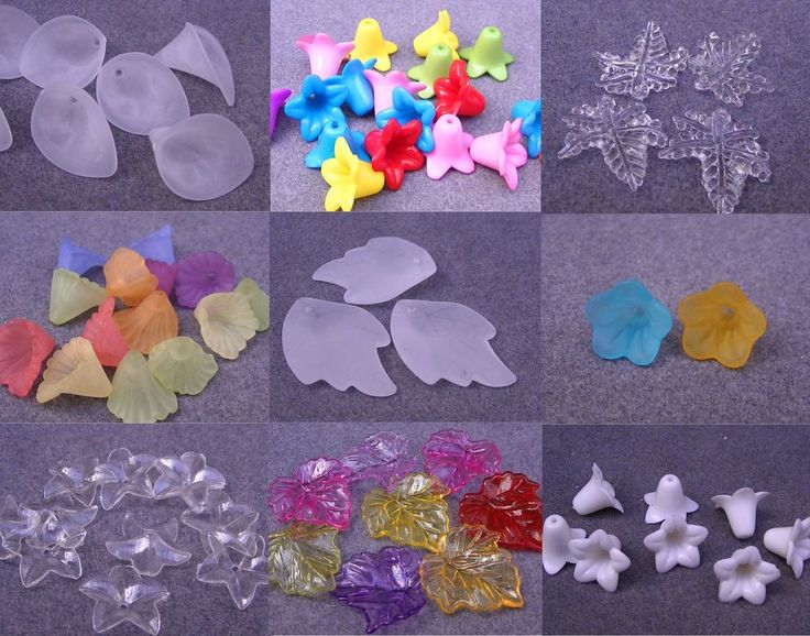 2,13+3,95 missgreedy White/Clear/Mixed Colour Frosted Acrylic/Lucite Flower Leaf Beads (BOX22+22a)