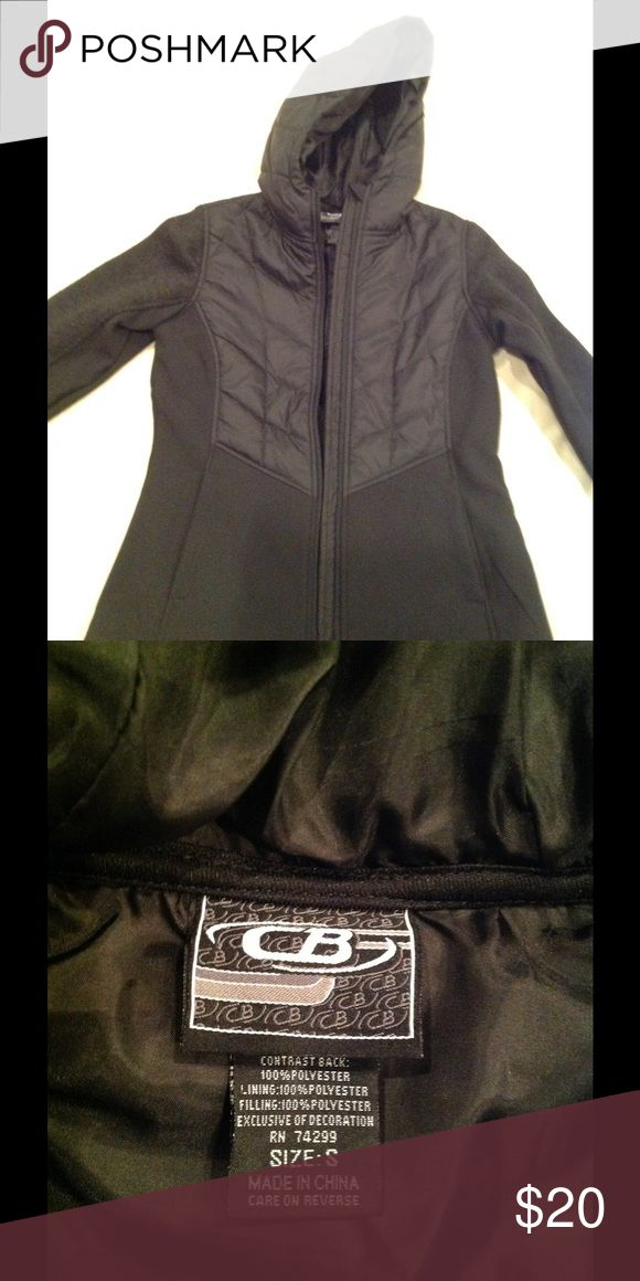 CB sports mixed media soft shell jacket size S Dark gray mixed media soft shell jacket with hood.  Perfect for winter workouts or skiing.  In perfect condition, never worn.  Size small. CB Sports Tops Sweatshirts & Hoodies