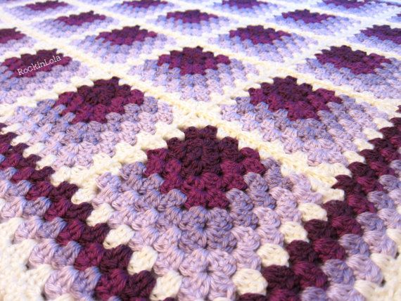 purple baby blanket - lavender lilac plum baby blanket - crochet baby blanket - handmade by RockinLola