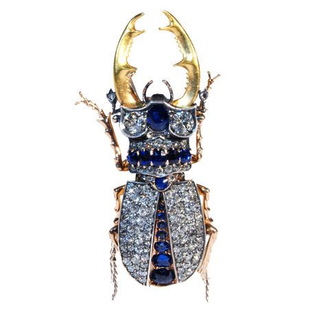 Sapphire and Diamond Stag Beetle, Austro-Hungarian, circa 1890 Sapphire and diamond stag beetle brooch, mounted in gold and silver, width/length: 2-3/4. Price $48,000