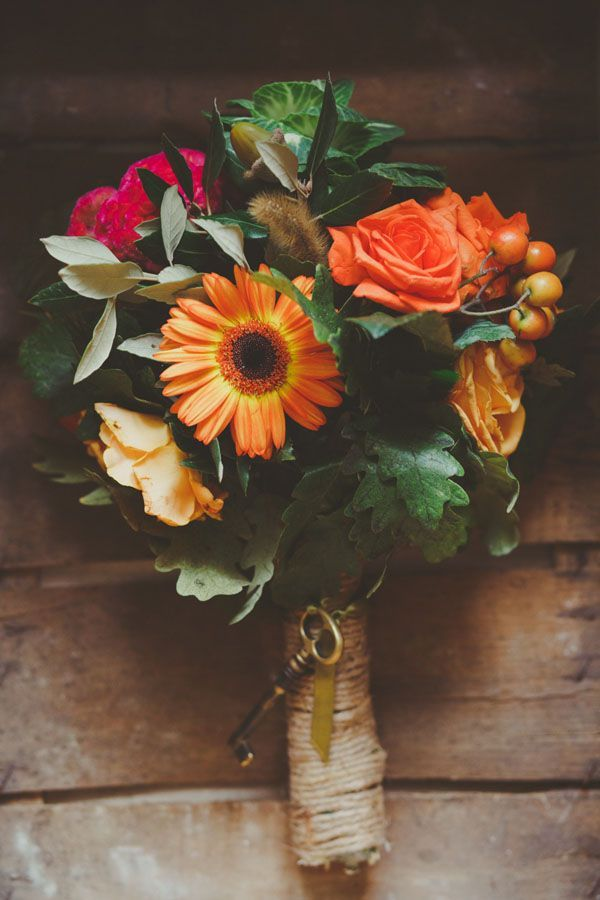 orange and red fall bouquet - love the vintage key!