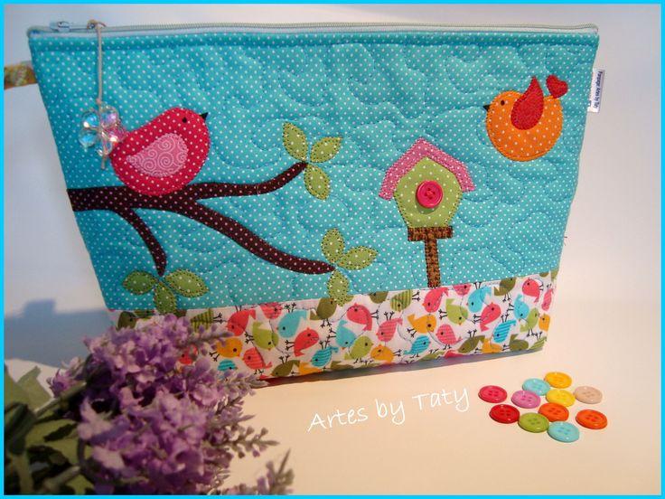 Bolsa Para Lapis Em Tecido : Necessaire em tecido com patchaplique g bolsas