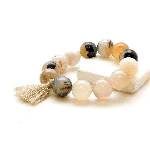 White Garnet Bracelet Mala Bracelet Tassel Boho by PiscesAndFishes