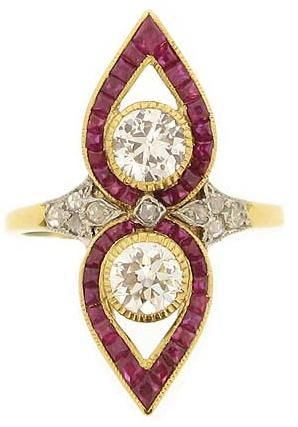 Belle Époque diamond and calibré ruby ring, French, circa 1905. The total approximate diamond weight is 0.99 carats, and the rubies are 2.00 carats. Via Diamonds in the Library.