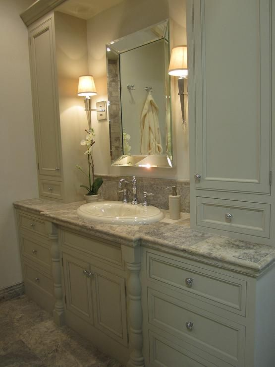 Kirsty Froelich: The Tile Shop - bathroom with travertine from Turkey custom painted vanity