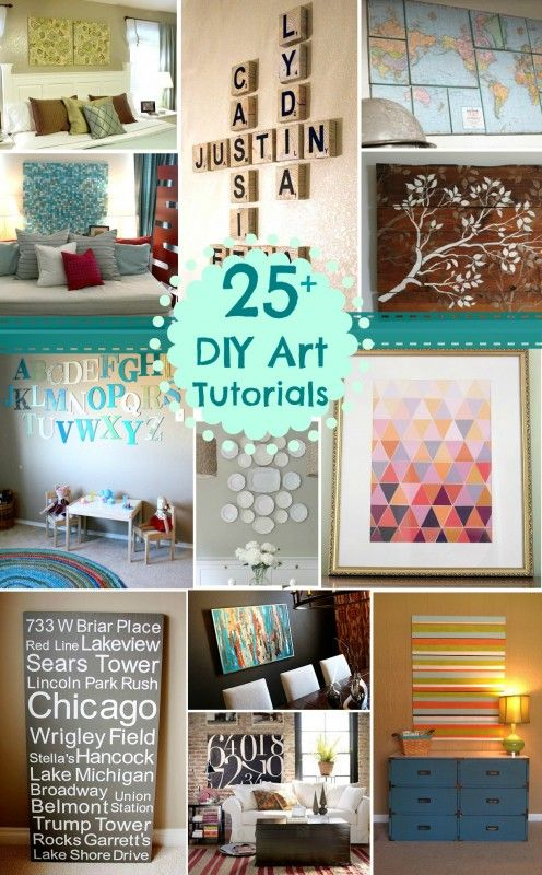 Don't know what to do with empty Wall Space? Tons of Solutions in these #25+ DIY Wall Art Tutorial Ideas!