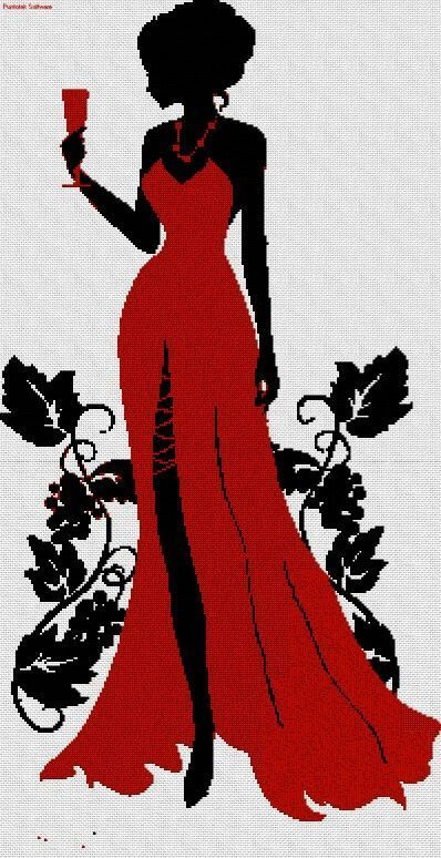 point de croix femme en robe de soirée rouge - cross stitch woamn in a red gown:
