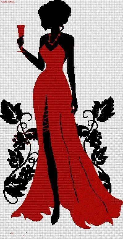 point de croix femme en robe de soirée rouge - cross stitch woamn in a red gown: