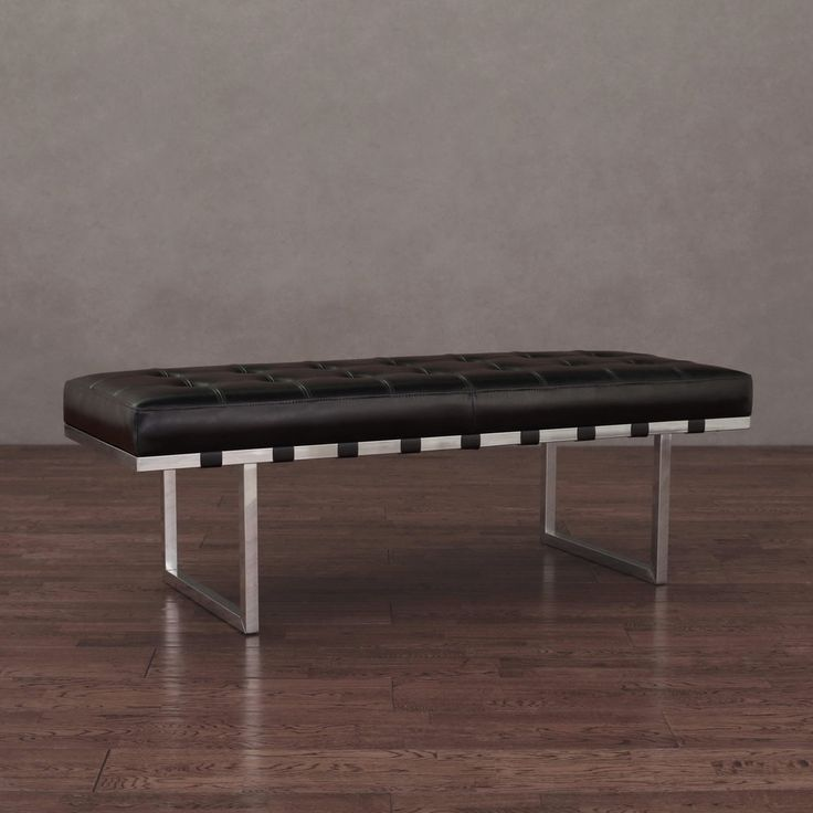 Black Leather Bench With Chrome Legs Shapeyourminds Com