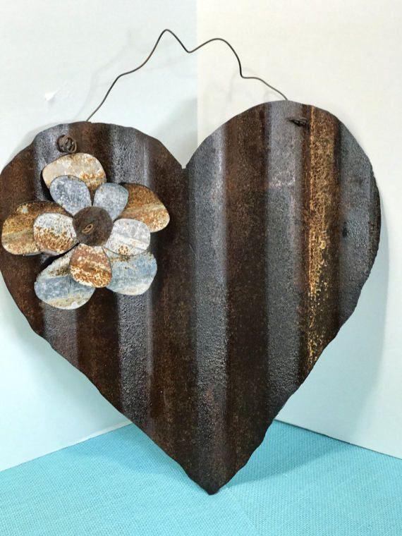 Rusty Corrugated Tin Heart Corrugated Tin Sheet Metal Crafts Corrugated Metal