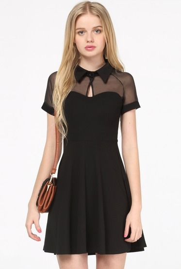 Black Short Sleeve Mesh Peak Collar Skater Dress pictures