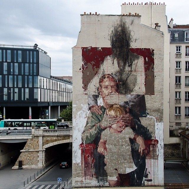 New work by #Borondo in Paris • - photo by @aruallan • France for #NuitBlanche
