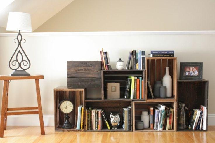 idée de meuble de rangement en caisses bois