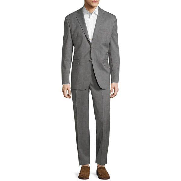 Yves Saint Laurent Pour Homme Men's Solid Grey Notch Lapel Suit -... ($499) ❤ liked on Polyvore featuring men's fashion, men's clothing, men's suits, grey, mens 3 button suits, mens suits, yves saint laurent mens suits, mens clothing and mens grey suits