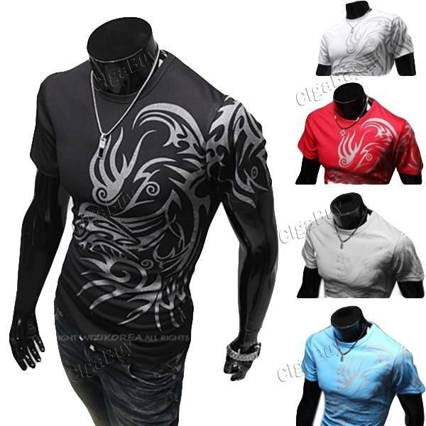 Повседневная Crewneck татуировки с коротким рукавом футболки Boy  http://www.cigabuy.com/ru/casual-crewneck-tattoo-short-sleeve-t-shirts-for-boy-men-p-5834.html