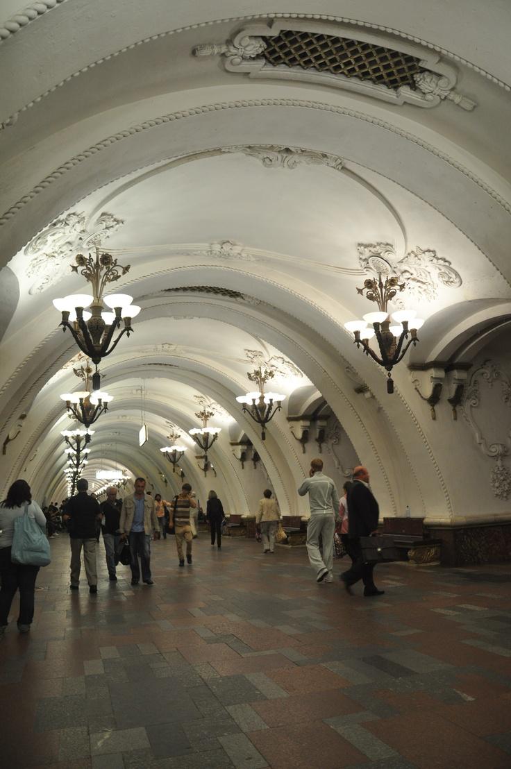 The original pinner said: Take the elegant Moscow subway with Ms. Ho and GIN Friends -  Арбатская - Arbatskaja