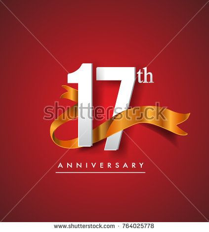 17th anniversary logotype with golden ribbon isolated on red elegance background, vector design for birthday celebration, greeting card and invitation card.