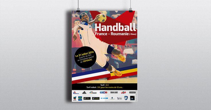 #Affiches #A3 Match Handball Roumanie/France Handball  Copyright Un Coin de Pixel  http://www.uncoindpixel.com/projet_affiche_handball_france-roumanie_tinteniac.html