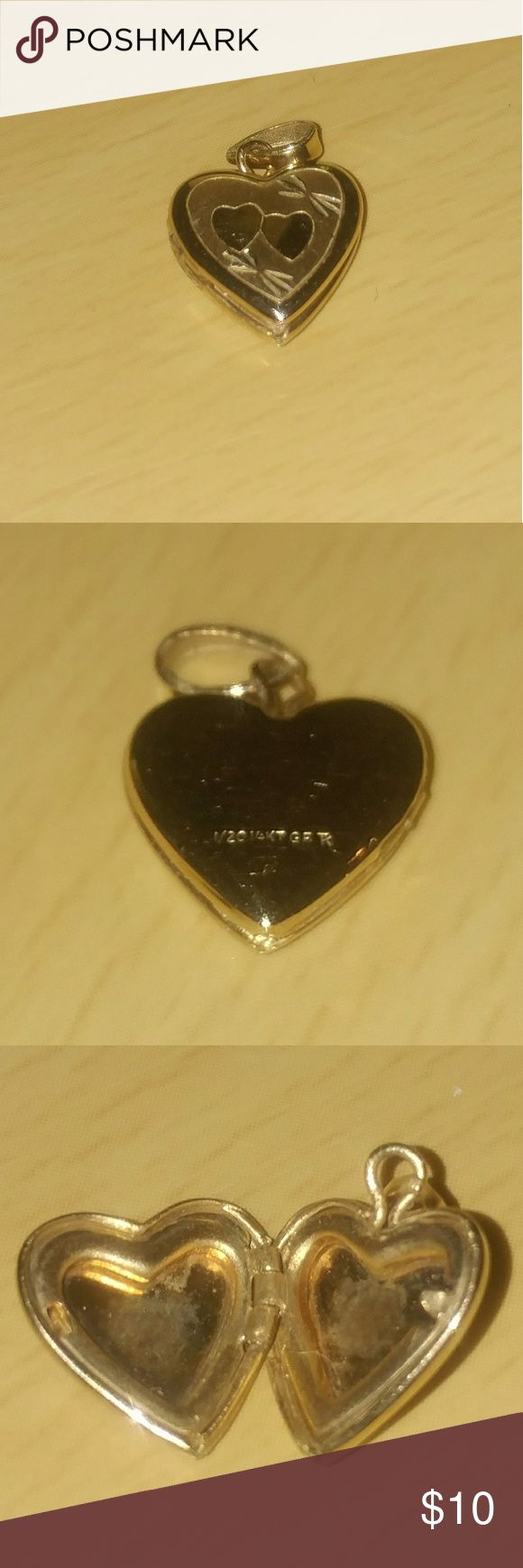 1/20 14kt GF Heart locket -used This cute, heart locket would look great on a gold chain. Nice for Valentine's day! Jewelry