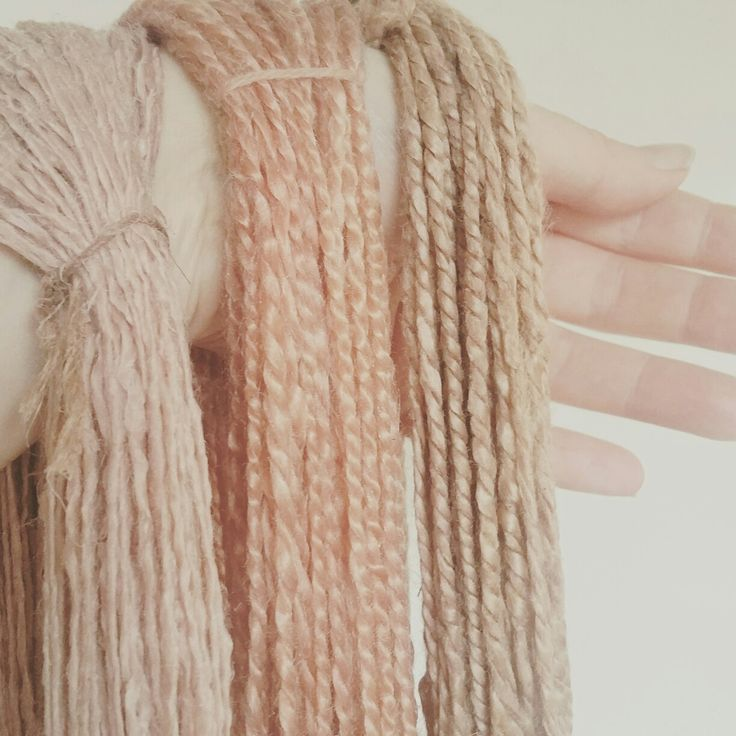 hand spun vegan yarn hand dyed with avocado for vintage pale pink shades www.ets…