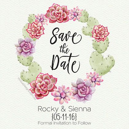 Arizona Save the Date Pretty desert florals & succulents with whimsical calligraphy font all printed on decadent Via Felt textured cream card