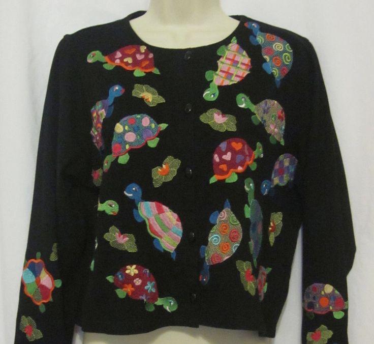 Michael Simon Lite Turtles Black Cardigan Sweater Womens Med Embroidered Teacher #MichaelSimon #Cardigan