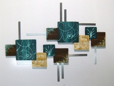 Beautiful Contemporary Abstract Square Wall Sculpture Dk.Teal & Brown Wood Art with Metal