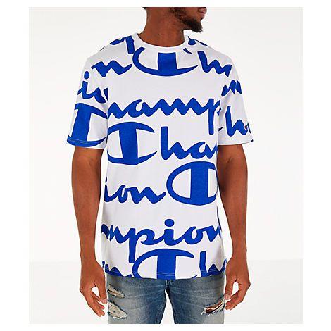 5819653a CHAMPION MEN'S CHAMPION HERITAGE ALLOVER PRINT LARGE SCRIPT T-SHIRT, WHITE/ BLUE. #champion #cloth