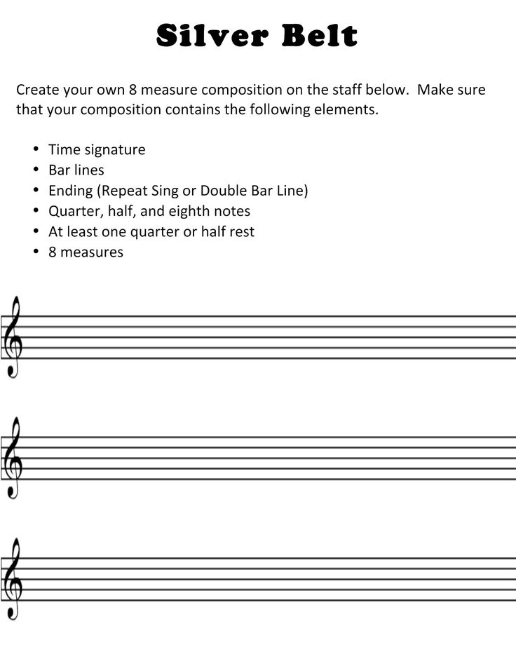 Recorder Karate Silver Belt where students create their own composition.