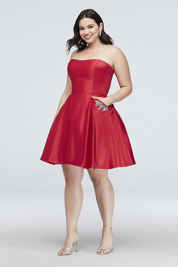 3f75762b7ba Satin Plus Size Party Dress with Crystal Pockets