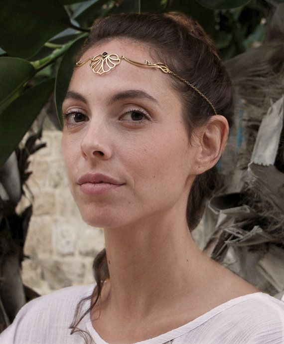 Mhendi Tiara Necklace with Garnet, Bridal Headpiece, Unique Brass Necklace, Gift For Her