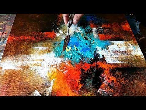 """Youtube download : Démonstration de peinture abstraite (8) Elisabeth - Toile """"Quintessence"""""""