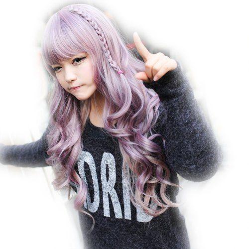 Stylish Shaggy Harajuku Servant Girl Daily Long DIY Style Full Bang Wavy Braided Synthetic Cosplay Wig