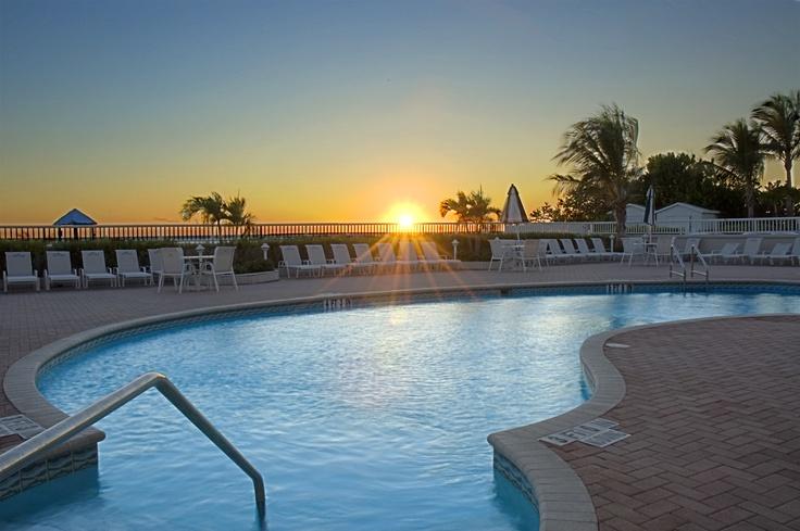Lido Beach Resort, Sarasota, Florida at sunset.